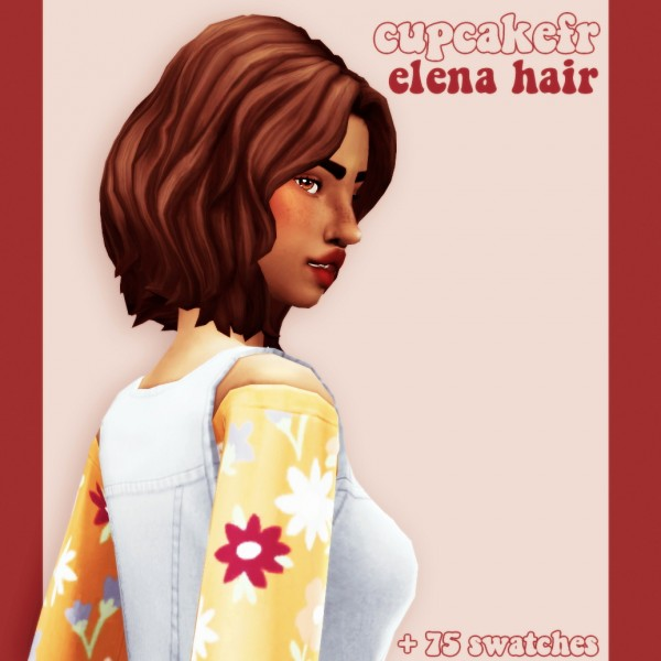 Cowplant Pizza: Elena hair recolored for Sims 4