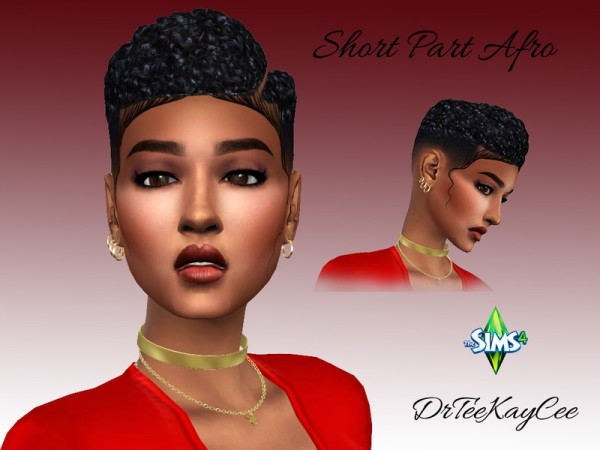 The Sims Resource: Short Parted Afro hair retextured by drteekaycee for Sims 4
