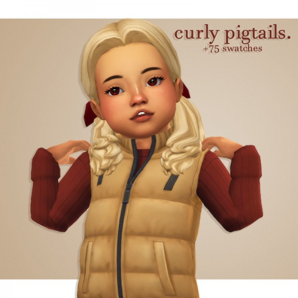 Cowplant Pizza: Curly pigtails for Sims 4