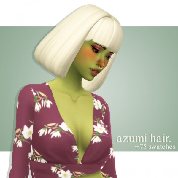 Cowplant Pizza: Azumi Hair Recolored for Sims 4