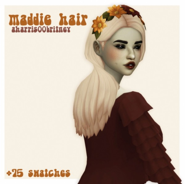 Cowplant Pizza: Maddie hair recolored for Sims 4