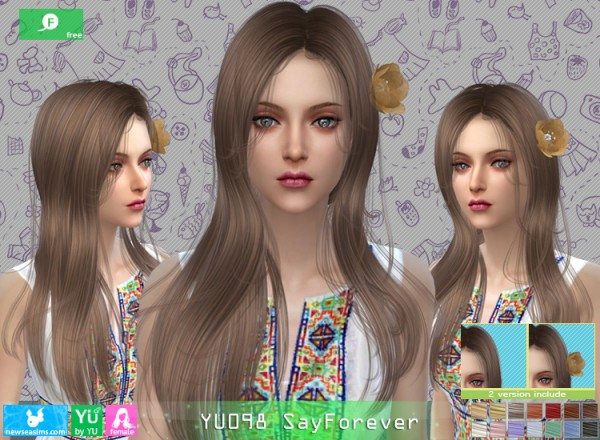 NewSea: YU098 SayForever Hair for Sims 4