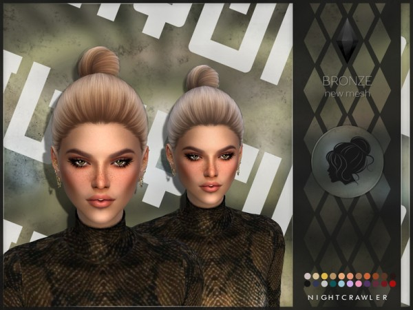 The Sims Resource: Bronze hair by Nightcrawler for Sims 4
