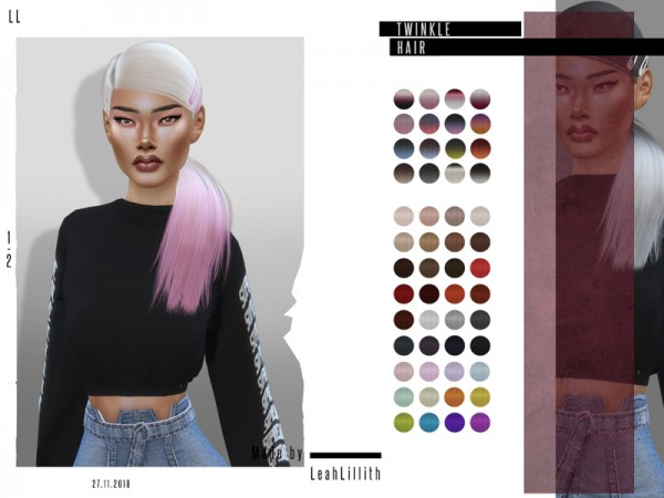 The Sims Resource: Twinkle Hair by LeahLillith for Sims 4