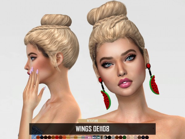 Red Head Sims: Wings oe1108 hair retextured for Sims 4