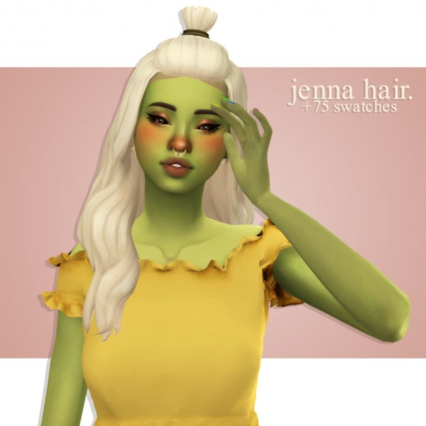 Cowplant Pizza: Jenna hair recolored for Sims 4