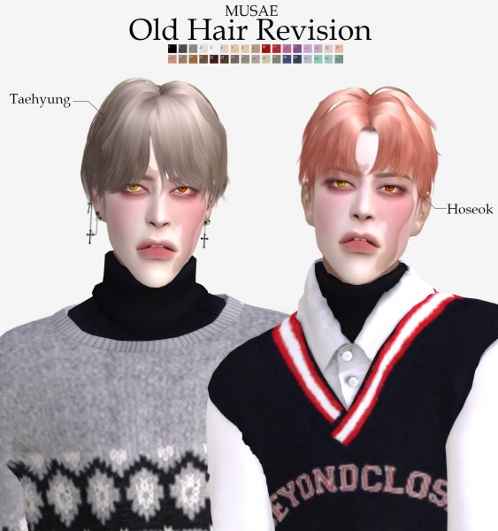 Effie: Hoseok and Taehyung Hair Revision for Sims 4