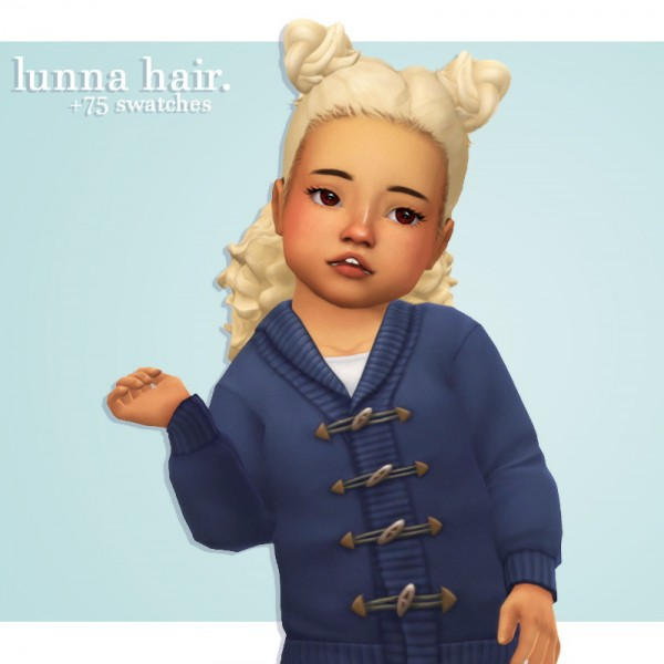 Cowplant Pizza: Lunna Hair recolored for Sims 4