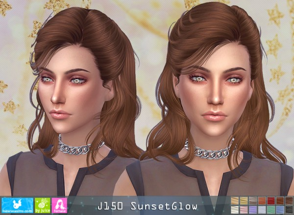 NewSea: J150 Sunset Glow Hair for Sims 4