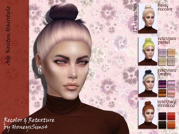 The Sims Resource: Ade Kristen Hair Recolored by Jenn Honeydew Hum for Sims 4