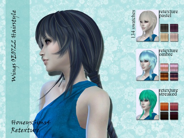 The Sims Resource: Wings OE0722 female hair retextured by Jenn Honeydew Hum for Sims 4