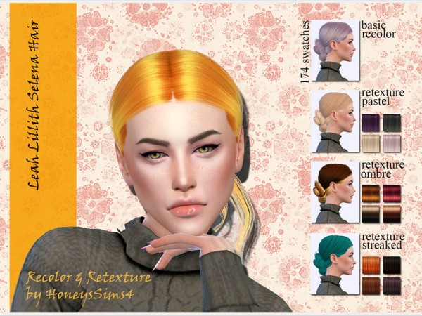 The Sims Resource: LeahLillith`s Selena Hair Recolored by Jenn Honeydew Hum for Sims 4