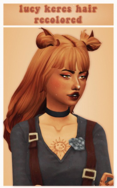 Cowplant Pizza: Lucy Keres hair recolored for Sims 4