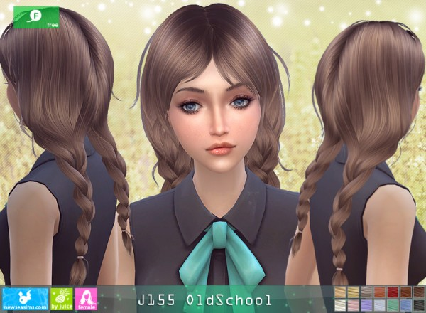 NewSea: J155 Old School hair for Sims 4