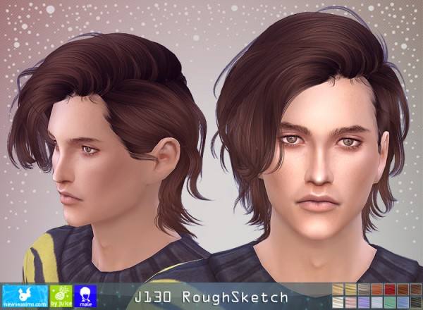 NewSea: J130 Rough Sketch hair for Sims 4
