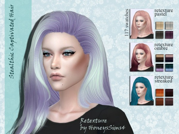 The Sims Resource: Stealthic`s Captivated hair retextured by Jenn Honeydew Hum for Sims 4