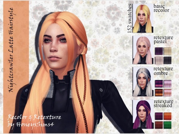 The Sims Resource: Nightcrawler`s Latte Hairstyle Recolored by Jenn Honeydew Humy for Sims 4