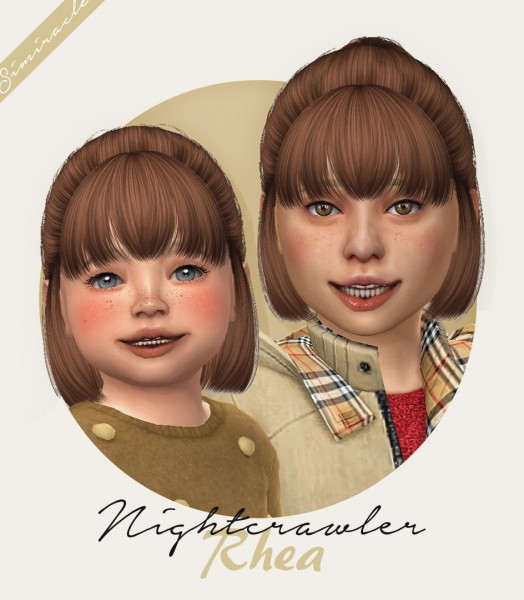 Simiracle: Nightcrawler`s Rhea hair retextured   kids and toddlers version for Sims 4