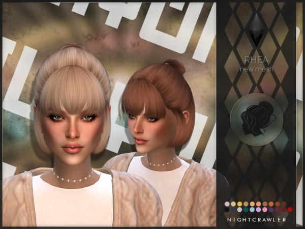 The Sims Resource: Rhea hair by Nightcrawler Sims for Sims 4