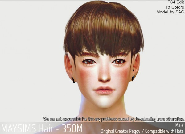 MAY Sims: MAY350M Hair retextured for Sims 4