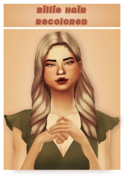 Cowplant Pizza: Billie hair recolored for Sims 4