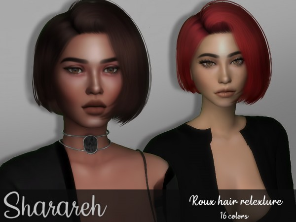 The Sims Resource: Tsminh`s Roux hair retextured by Sharareh for Sims 4