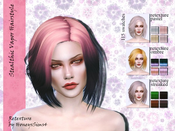 The Sims Resource: Stealthic Vapor Hair Retextured by Jenn Honeydew Hum for Sims 4