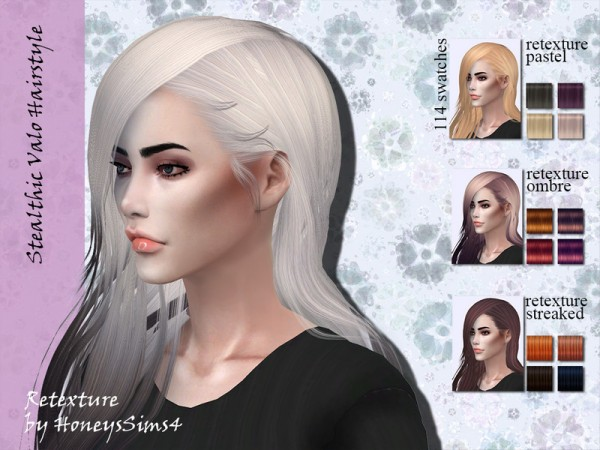 The Sims Resource: Stealthic`s Valo Hair Retextured by Jenn Honeydew Hum for Sims 4