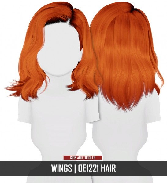 Coupure Electrique: WINGS OE1221 hair retextured  kids and toddlers version for Sims 4