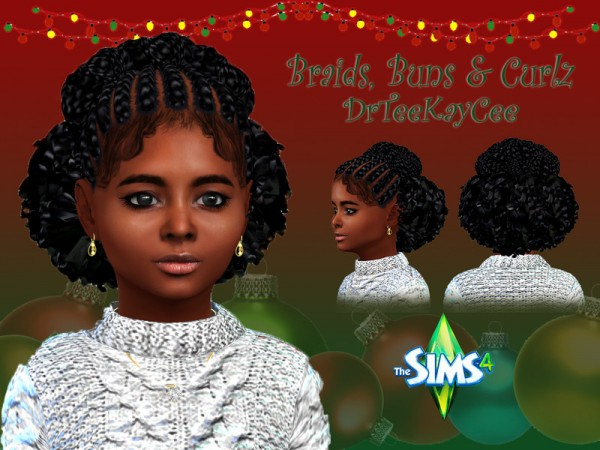 The Sims Resource: Braids, Buns and Curlz hair retextured by drteekaycee for Sims 4