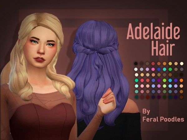 The Sims Resource: Adelaide Hair Retextured by feralpoodles for Sims 4