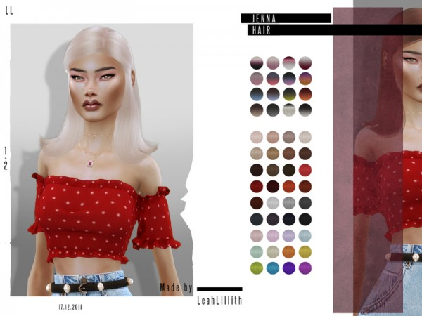 The Sims Resource: Jenna Hair by Leah Lillith for Sims 4