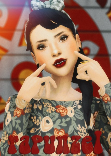 Cowplant Pizza: Rapunzel hair recolored for Sims 4