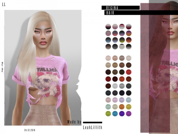 The Sims Resource: Regina Hair by Leah Lillith for Sims 4