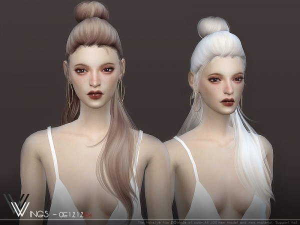 The Sims Resource: WINGS OE1212 Hair for Sims 4