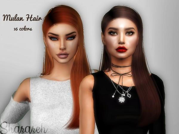The Sims Resource: Mulan hair retextured by Sharareh for Sims 4