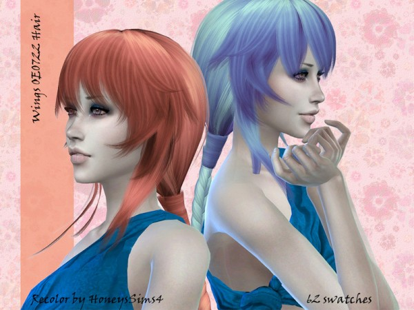 The Sims Resource: Wings OE0722 female hair recolored by Jenn Honeydew Hum for Sims 4