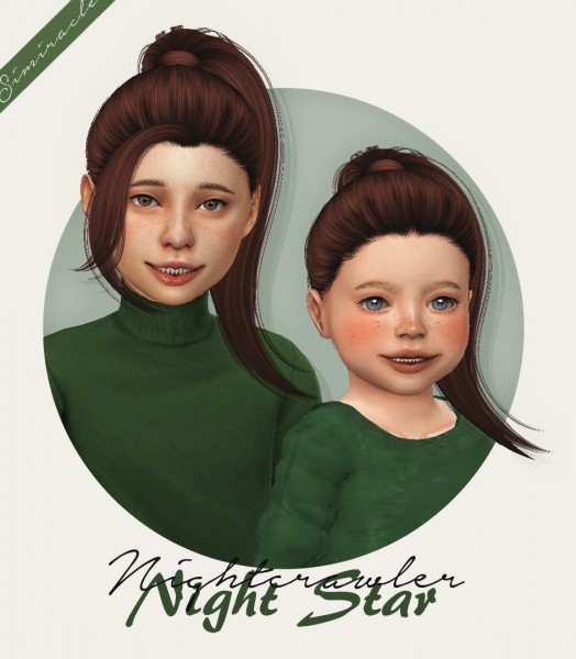 Simiracle: Nightcrawler`s Night Star 2IN1 hair retextured for Sims 4