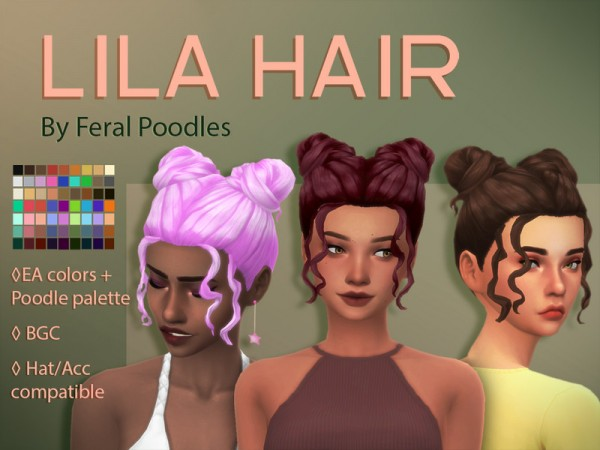 The Sims Resource: Lila Hair Retextured by feralpoodles for Sims 4