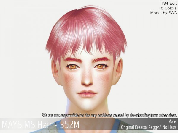MAY Sims: MAY352M Hair retextured for Sims 4