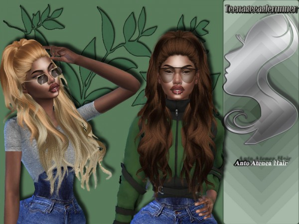 The Sims Resource: Atenea Hair Recolored by Teenageeaglerunner for Sims 4