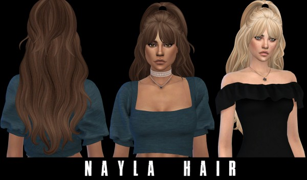 Leo 4 Sims: Nayla Hair recolored V2 for Sims 4