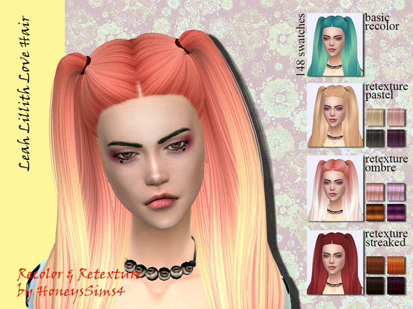 The Sims Resource: LeahLillith Love hair recolored by Jenn Honeydew Hum for Sims 4