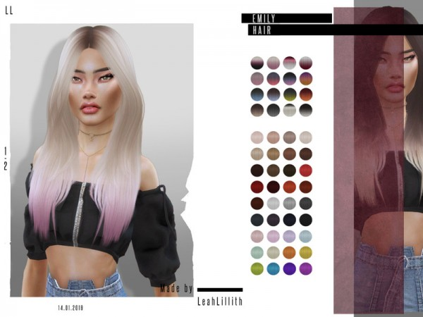 The Sims Resource: Emily Hair by Leah Lillith for Sims 4