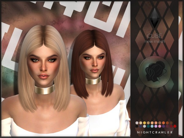 The Sims Resource: Cube hair by Nightcrawler Sims for Sims 4