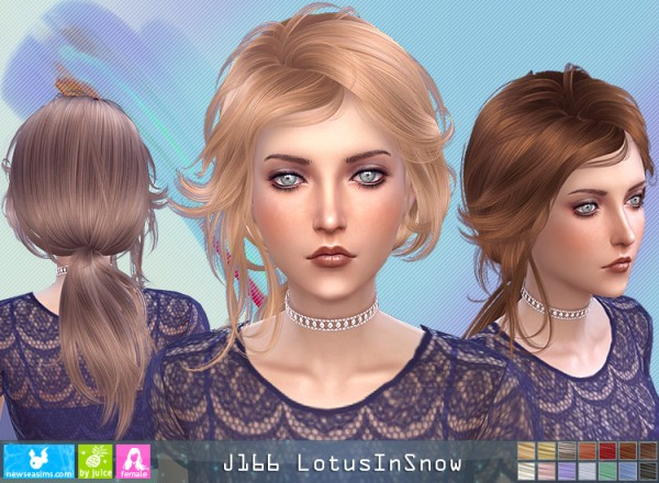 NewSea: J166 Lotus in Snow hair for Sims 4