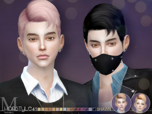 The Sims Resource: Hair Shawn n41 by S Club for Sims 4
