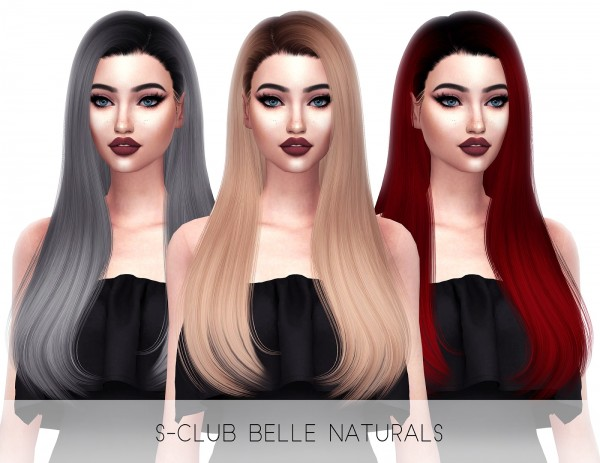 Kenzar Sims: Sclub`s Belle Naturals hair retextured for Sims 4