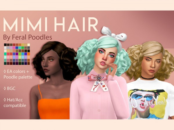 The Sims Resource: Mimi Hair Retextured by Mimi Hair for Sims 4