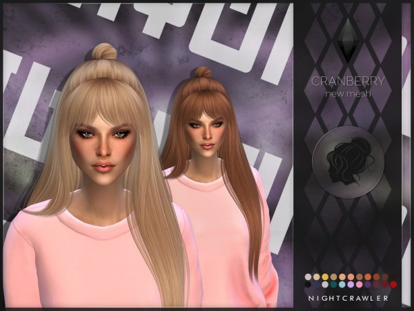 The Sims Resource: Cranberry hair by Nightcrawler Sims for Sims 4